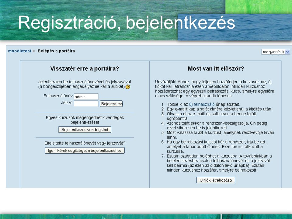 Regisztráció, bejelentkezés