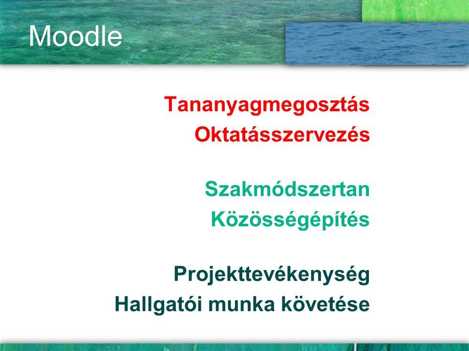 Moodle Tananyagmegosztás Oktatásszervezés Szakmódszertan Közösségépítés Projekttevékenység Hallgatói munka követése