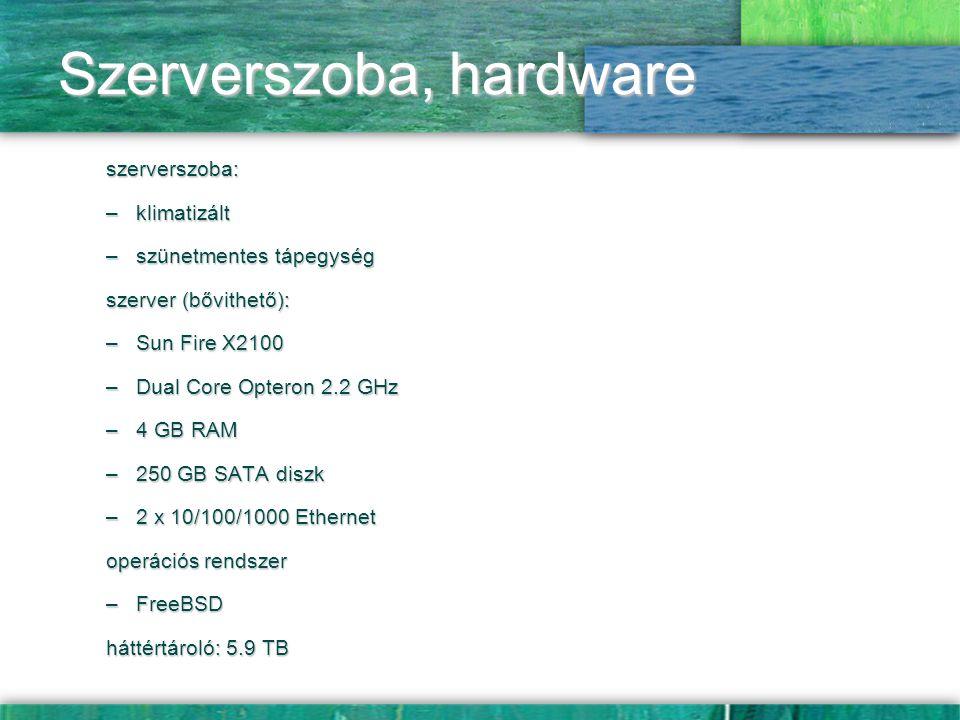 Szerverszoba, hardware szerverszoba: –klimatizált –szünetmentes tápegység szerver (bővithető): –Sun Fire X2100 –Dual Core Opteron 2.2 GHz –4 GB RAM –2