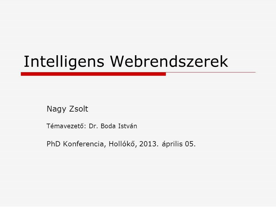 Intelligens Webrendszerek Nagy Zsolt Témavezető: Dr.