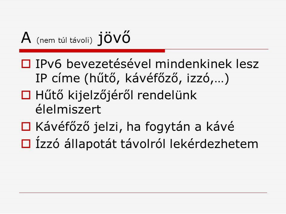 A (nem túl távoli) jövő  IPv6 bevezetésével mindenkinek lesz IP címe (hűtő, kávéfőző, izzó,…)  Hűtő kijelzőjéről rendelünk élelmiszert  Kávéfőző jelzi, ha fogytán a kávé  Ízzó állapotát távolról lekérdezhetem