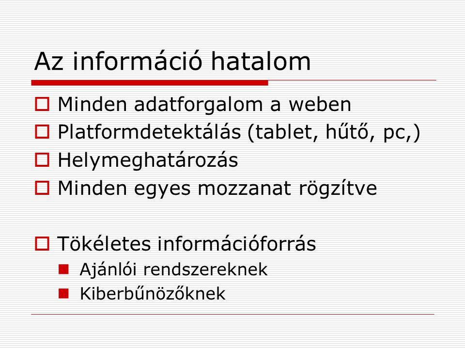 Az információ hatalom  Minden adatforgalom a weben  Platformdetektálás (tablet, hűtő, pc,)  Helymeghatározás  Minden egyes mozzanat rögzítve  Tökéletes információforrás Ajánlói rendszereknek Kiberbűnözőknek