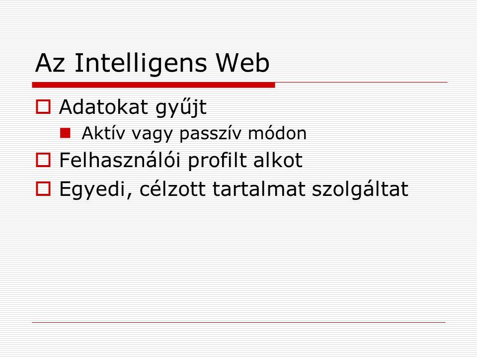 Az Intelligens Web  Adatokat gyűjt Aktív vagy passzív módon  Felhasználói profilt alkot  Egyedi, célzott tartalmat szolgáltat