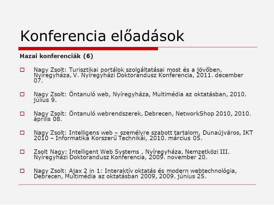 Konferencia előadások Hazai konferenciák (6)  Nagy Zsolt: Turisztikai portálok szolgáltatásai most és a jövőben, Nyíregyháza, V.