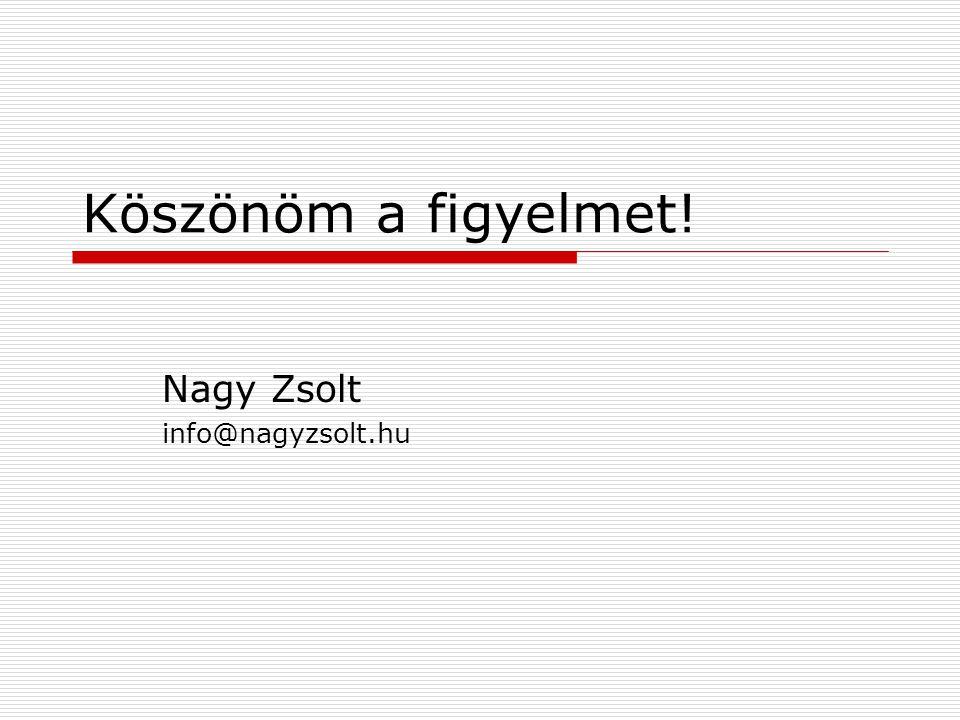 Köszönöm a figyelmet! Nagy Zsolt info@nagyzsolt.hu