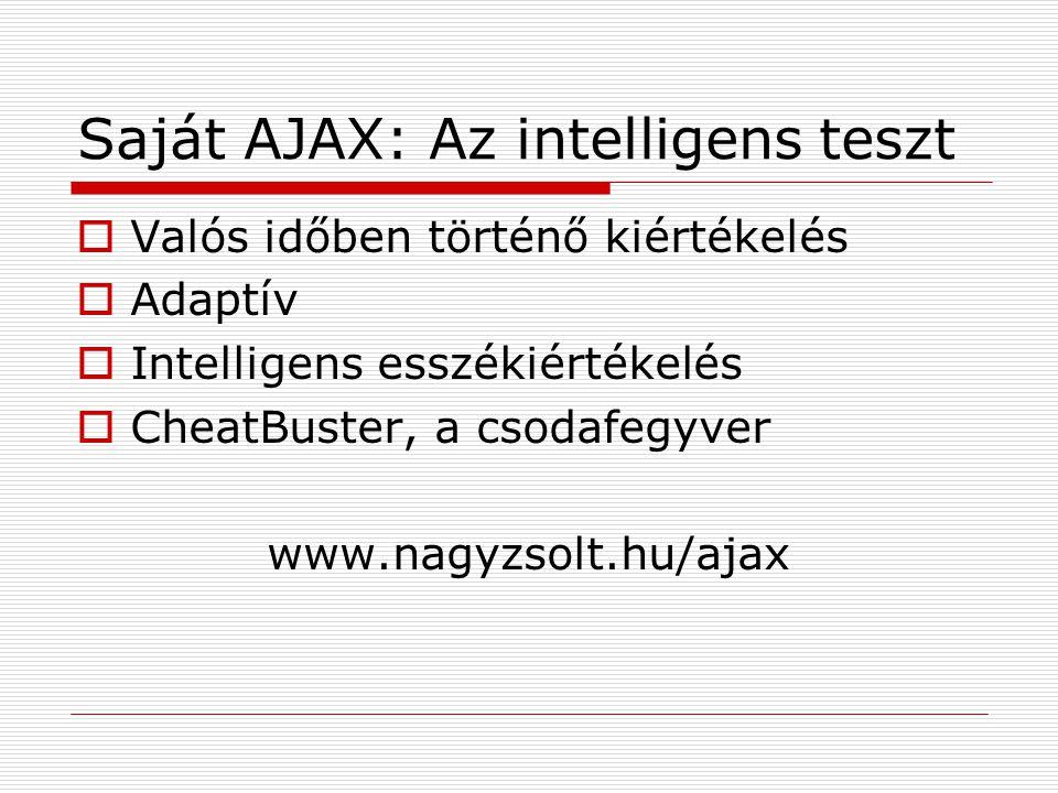 Saját AJAX: Az intelligens teszt  Valós időben történő kiértékelés  Adaptív  Intelligens esszékiértékelés  CheatBuster, a csodafegyver www.nagyzsolt.hu/ajax