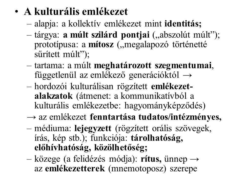 """A kulturális emlékezet –alapja: a kollektív emlékezet mint identitás; –tárgya: a múlt szilárd pontjai (""""abszolút múlt ); prototípusa: a mítosz (""""megalapozó történetté sűrített múlt ); –tartama: a múlt meghatározott szegmentumai, függetlenül az emlékező generációktól → –hordozói kulturálisan rögzített emlékezet- alakzatok (átmenet: a kommunikatívból a kulturális emlékezetbe: hagyományképződés) → az emlékezet fenntartása tudatos/intézményes, –médiuma: lejegyzett (rögzített orális szövegek, írás, kép stb.); funkciója: tárolhatóság, előhívhatóság, közölhetőség; –közege (a felidézés módja): rítus, ünnep → az emlékezetterek (mnemotoposz) szerepe"""