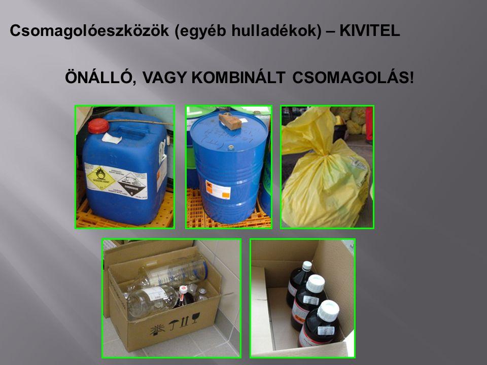 Csomagolóeszközök (egyéb hulladékok) – KIVITEL ÖNÁLLÓ, VAGY KOMBINÁLT CSOMAGOLÁS!