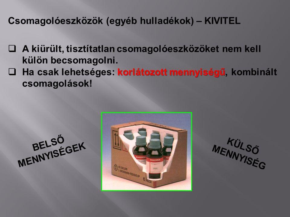 Csomagolóeszközök (egyéb hulladékok) – KIVITEL  A kiürült, tisztítatlan csomagolóeszközöket nem kell külön becsomagolni. korlátozott mennyiségű  Ha