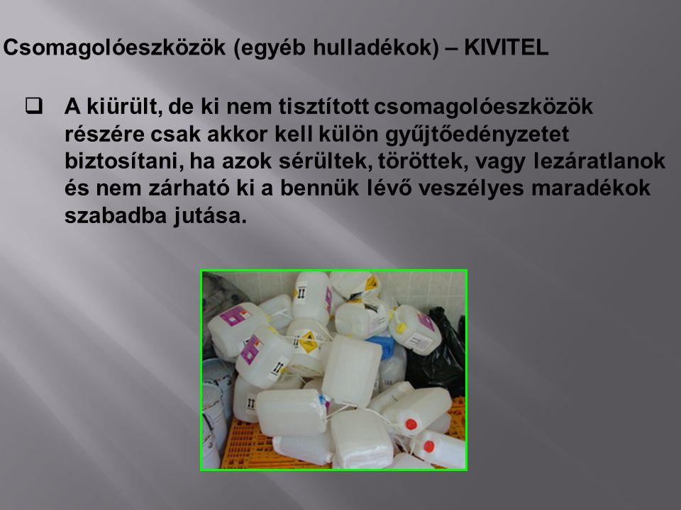 Csomagolóeszközök (egyéb hulladékok) – KIVITEL  A kiürült, de ki nem tisztított csomagolóeszközök részére csak akkor kell külön gyűjtőedényzetet bizt