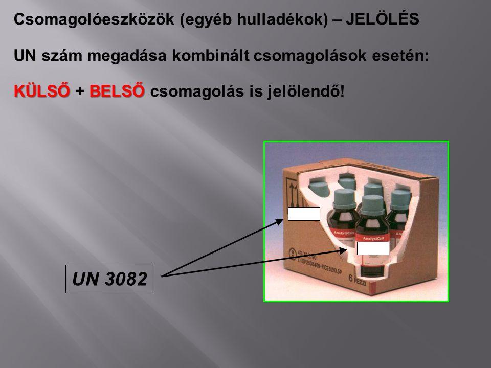 UN 3082 Csomagolóeszközök (egyéb hulladékok) – JELÖLÉS UN szám megadása kombinált csomagolások esetén: KÜLSŐ BELSŐ KÜLSŐ + BELSŐ csomagolás is jelölen