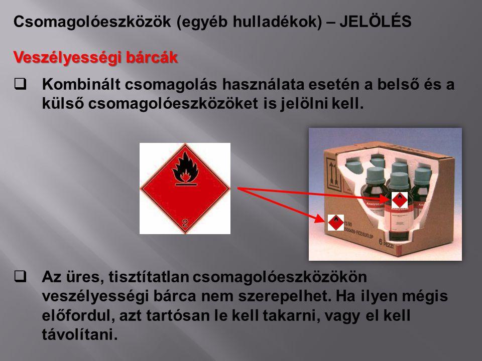 Csomagolóeszközök (egyéb hulladékok) – JELÖLÉS Veszélyességi bárcák  Kombinált csomagolás használata esetén a belső és a külső csomagolóeszközöket is