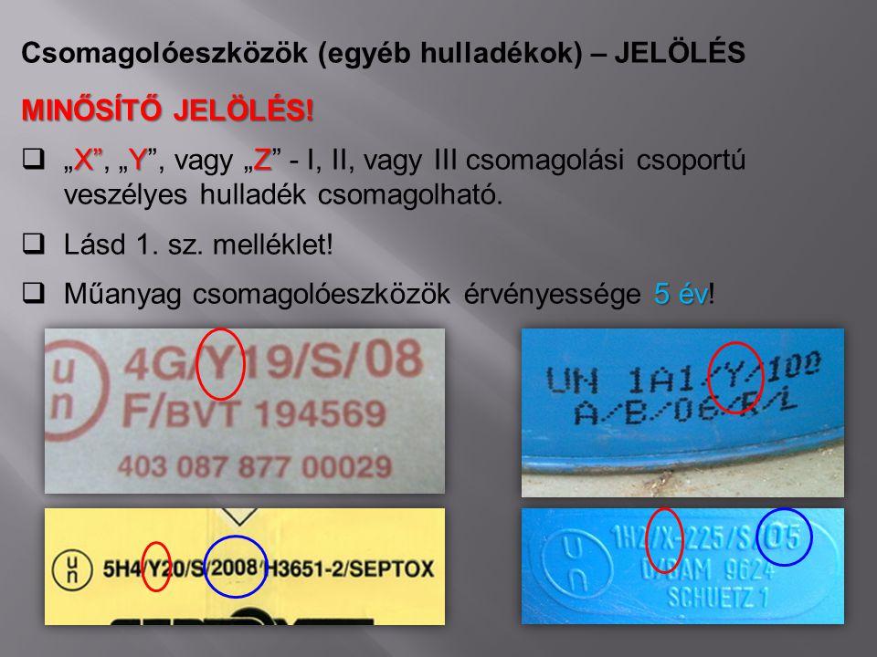 """Csomagolóeszközök (egyéb hulladékok) – JELÖLÉS MINŐSÍTŐ JELÖLÉS! X""""YZ  """"X"""", """"Y"""", vagy """"Z"""" - I, II, vagy III csomagolási csoportú veszélyes hulladék c"""
