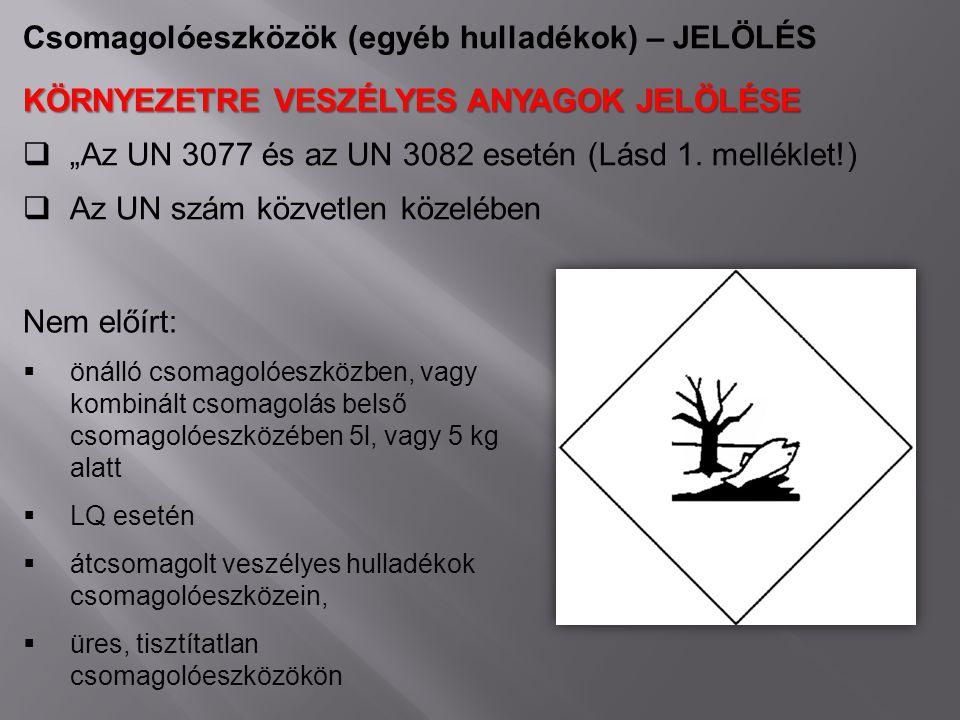 """Csomagolóeszközök (egyéb hulladékok) – JELÖLÉS KÖRNYEZETRE VESZÉLYES ANYAGOK JELÖLÉSE  """"Az UN 3077 és az UN 3082 esetén (Lásd 1. melléklet!)  Az UN"""