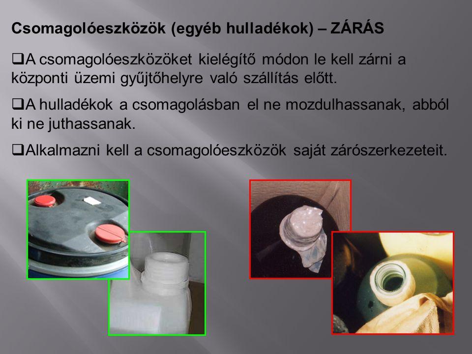 Csomagolóeszközök (egyéb hulladékok) – ZÁRÁS  A csomagolóeszközöket kielégítő módon le kell zárni a központi üzemi gyűjtőhelyre való szállítás előtt.
