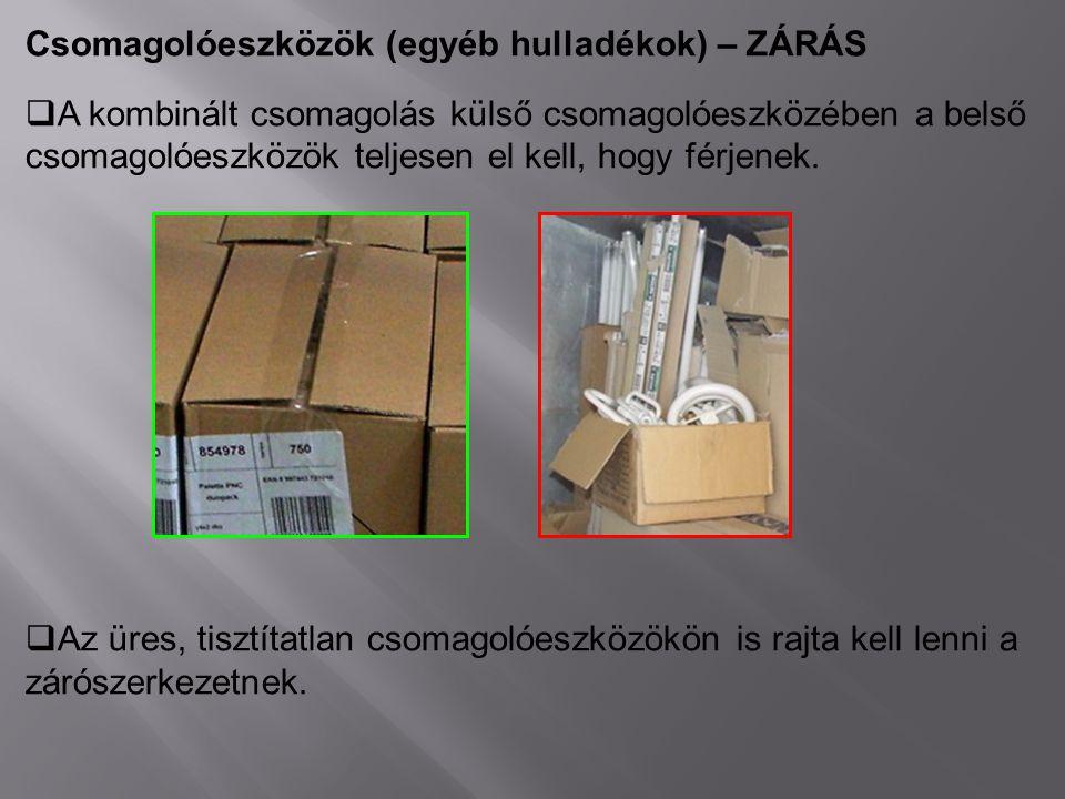 Csomagolóeszközök (egyéb hulladékok) – ZÁRÁS  A kombinált csomagolás külső csomagolóeszközében a belső csomagolóeszközök teljesen el kell, hogy férje