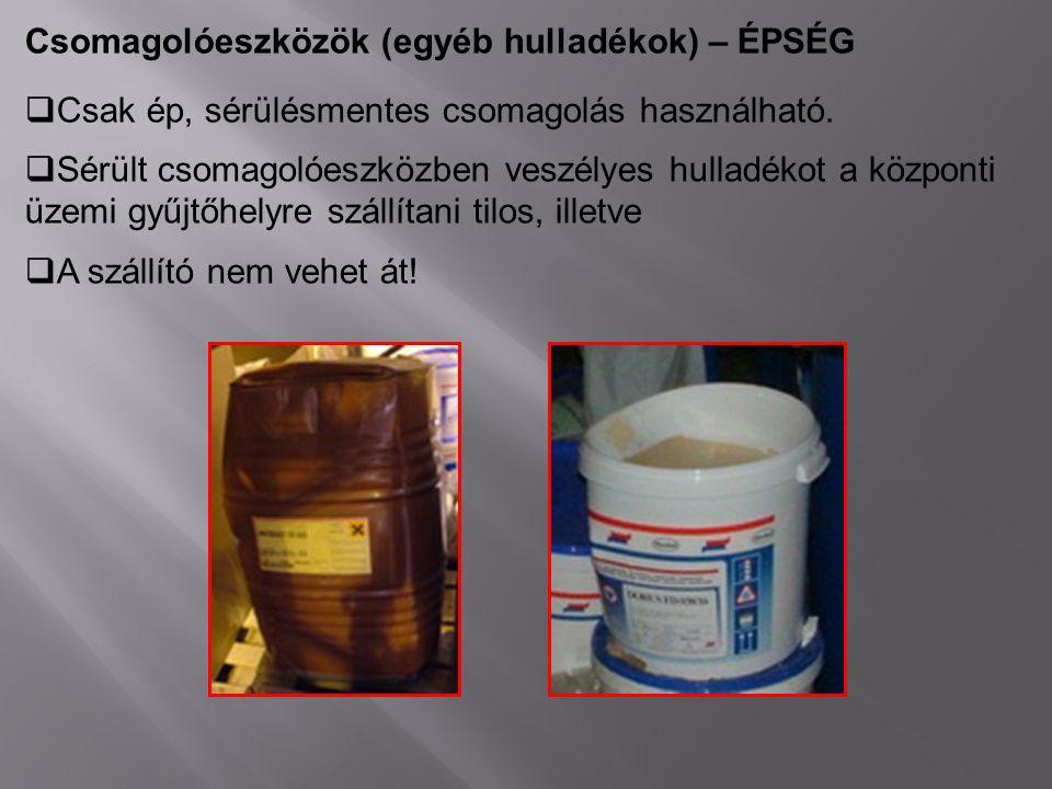 Csomagolóeszközök (egyéb hulladékok) – ÉPSÉG  Csak ép, sérülésmentes csomagolás használható.  Sérült csomagolóeszközben veszélyes hulladékot a közpo