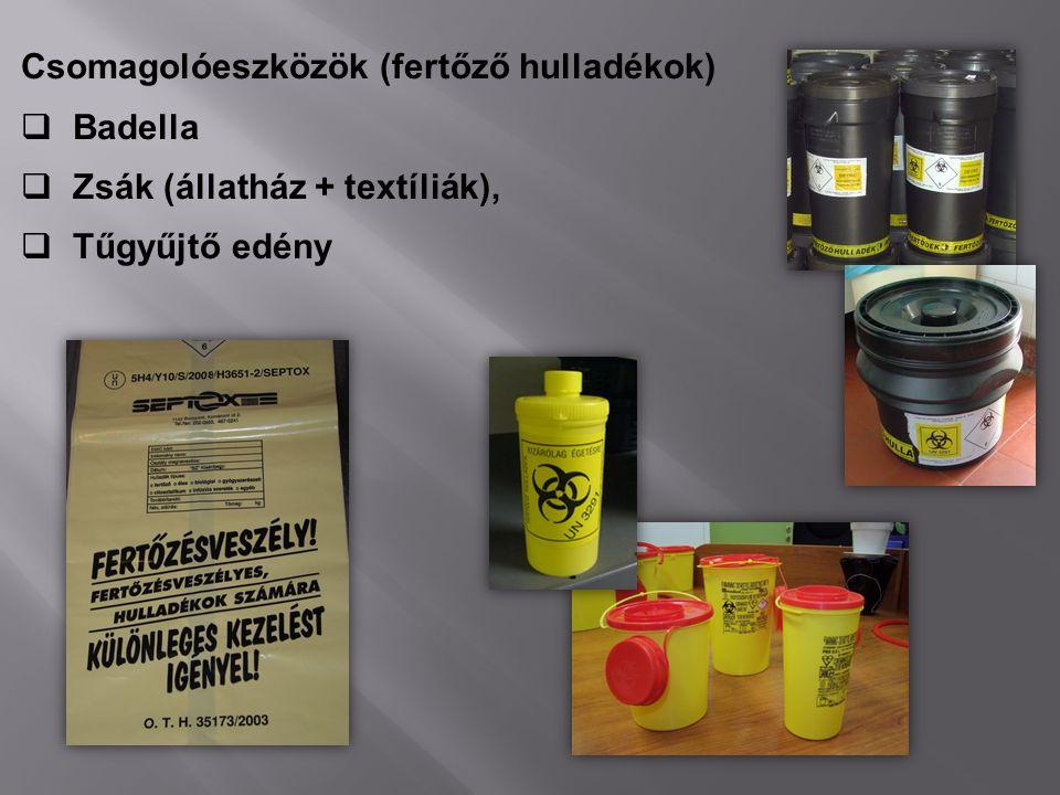 Csomagolóeszközök (fertőző hulladékok)  Badella  Zsák (állatház + textíliák),  Tűgyűjtő edény