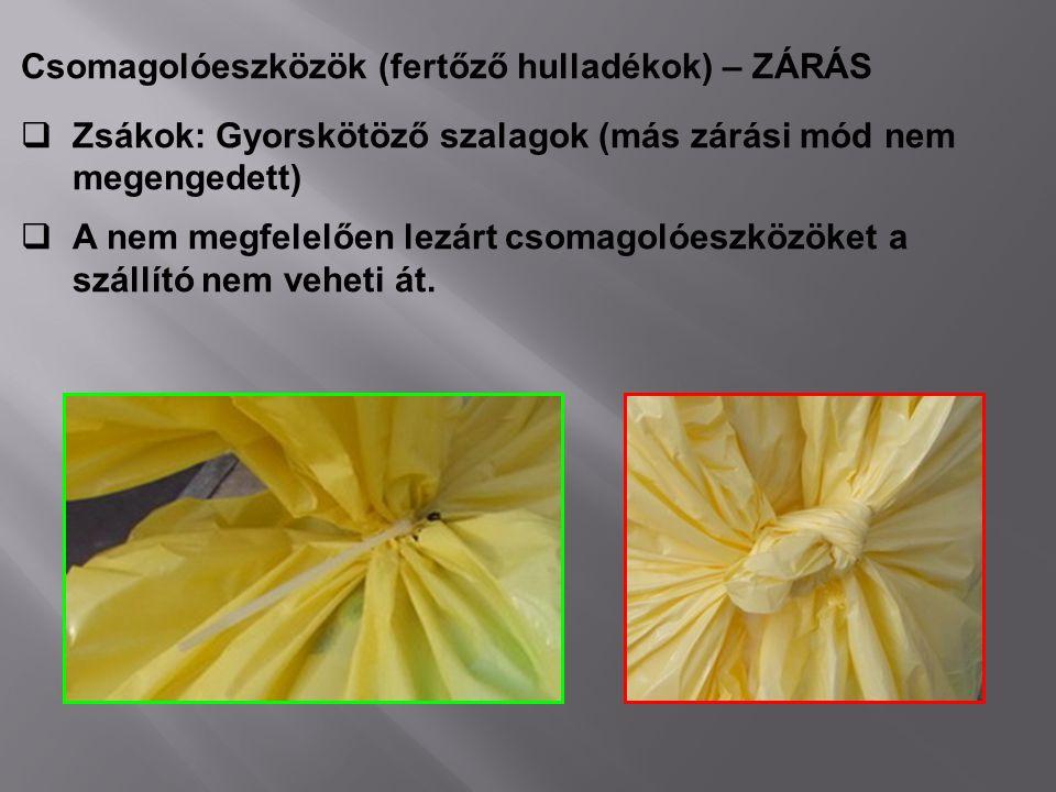 Csomagolóeszközök (fertőző hulladékok) – ZÁRÁS  Zsákok: Gyorskötöző szalagok (más zárási mód nem megengedett)  A nem megfelelően lezárt csomagolóesz