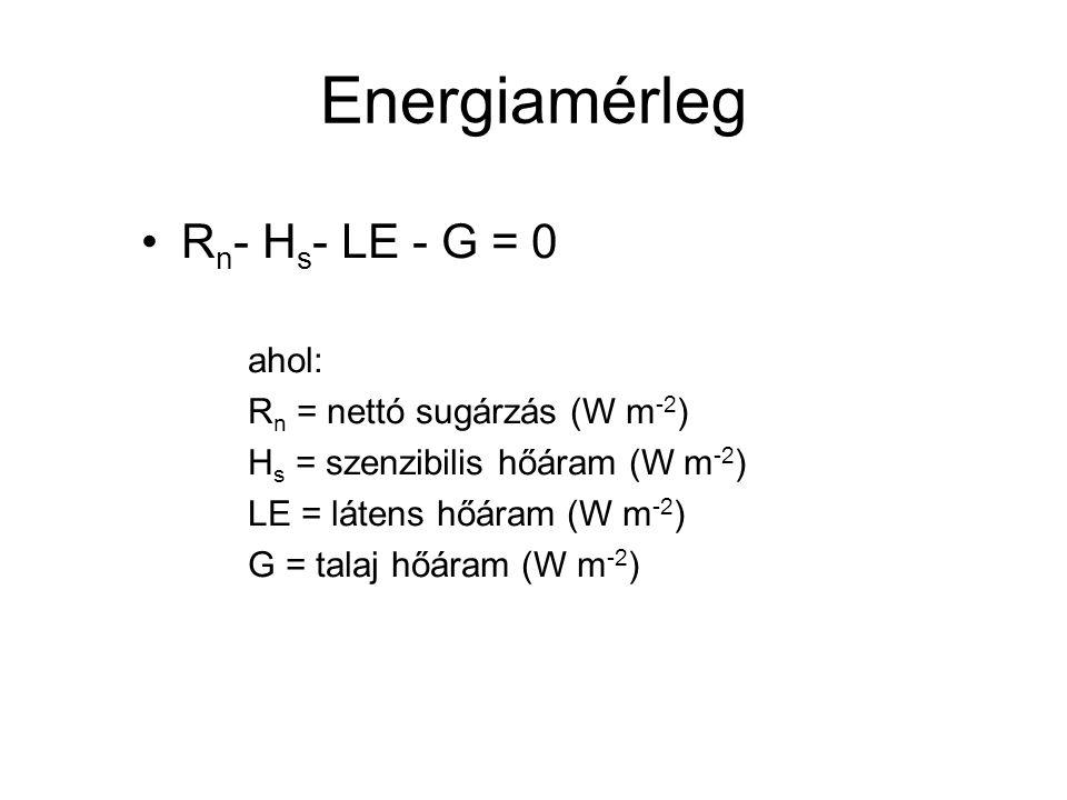 Energiamérleg R n - H s - LE - G = 0 ahol: R n = nettó sugárzás (W m -2 ) H s = szenzibilis hőáram (W m -2 ) LE = látens hőáram (W m -2 ) G = talaj hő