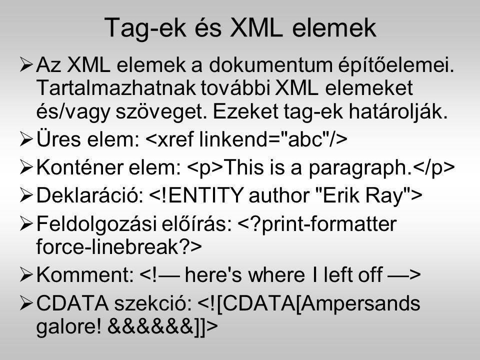 Tag-ek és XML elemek  Az XML elemek a dokumentum építőelemei. Tartalmazhatnak további XML elemeket és/vagy szöveget. Ezeket tag-ek határolják.  Üres