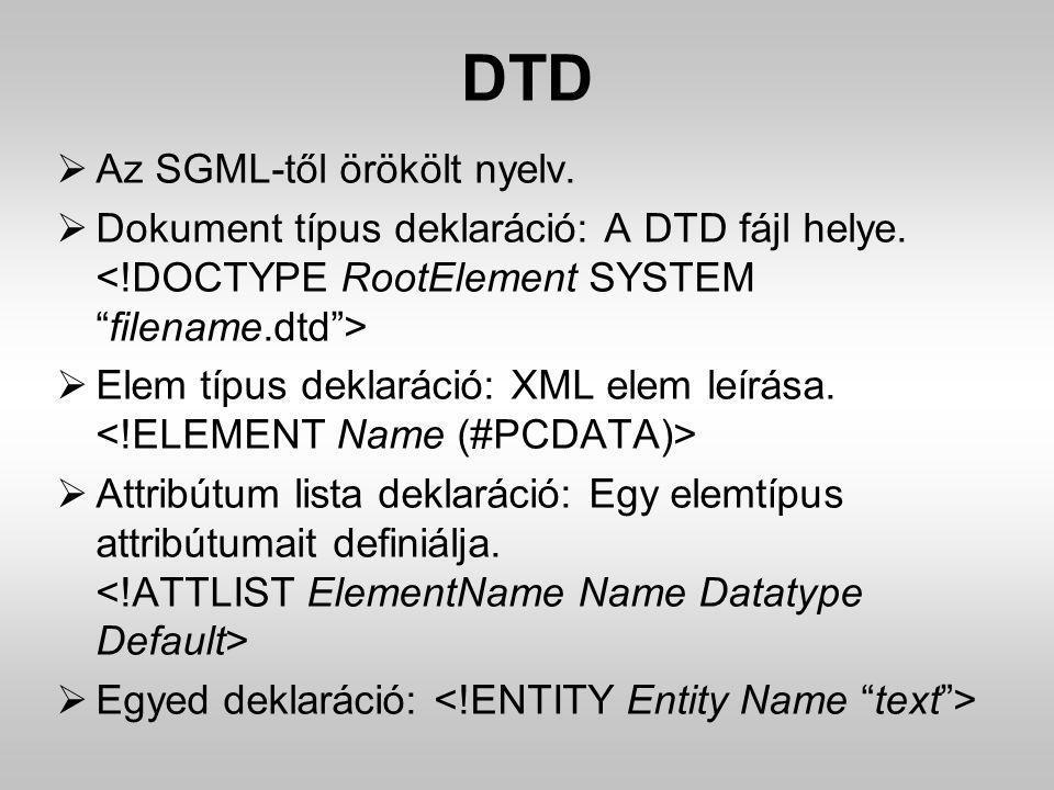 DTD  Az SGML-től örökölt nyelv.  Dokument típus deklaráció: A DTD fájl helye.  Elem típus deklaráció: XML elem leírása.  Attribútum lista deklarác