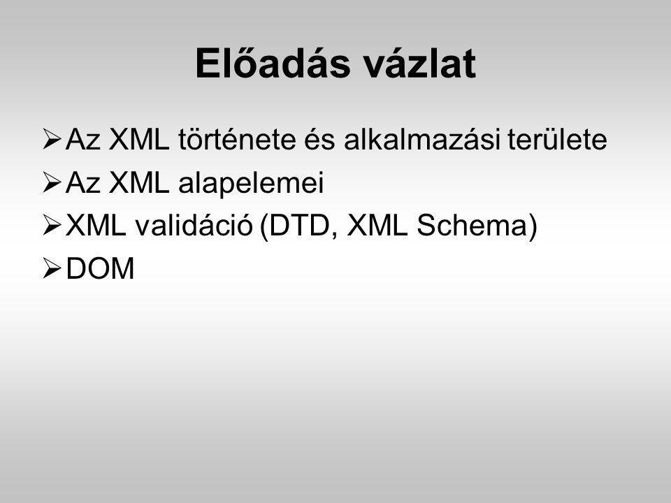 Előadás vázlat  Az XML története és alkalmazási területe  Az XML alapelemei  XML validáció (DTD, XML Schema)  DOM