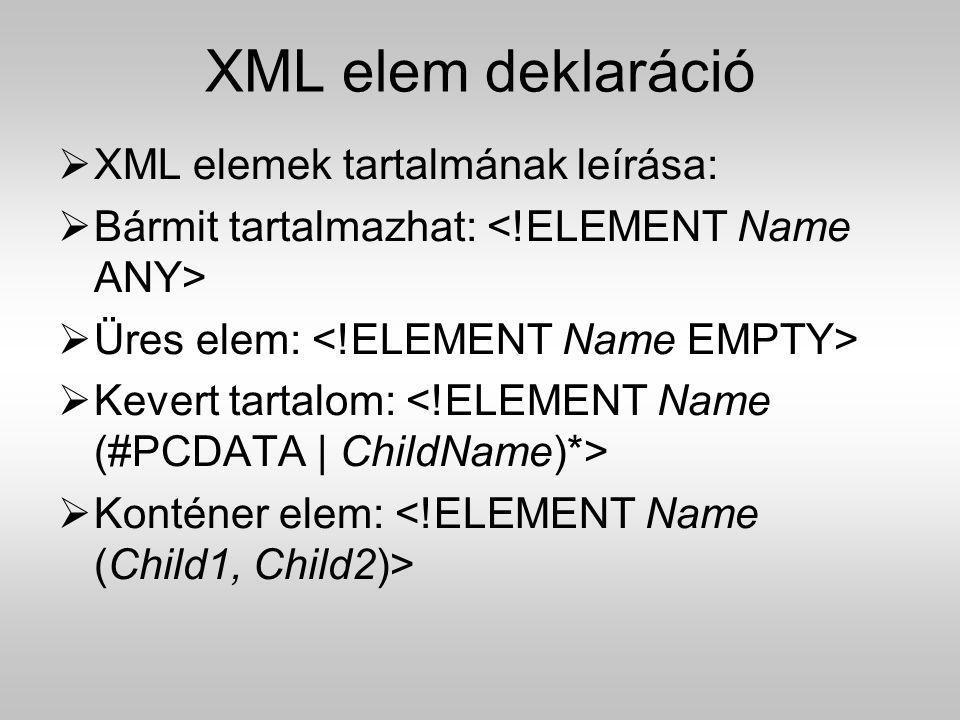 XML elem deklaráció  XML elemek tartalmának leírása:  Bármit tartalmazhat:  Üres elem:  Kevert tartalom:  Konténer elem: