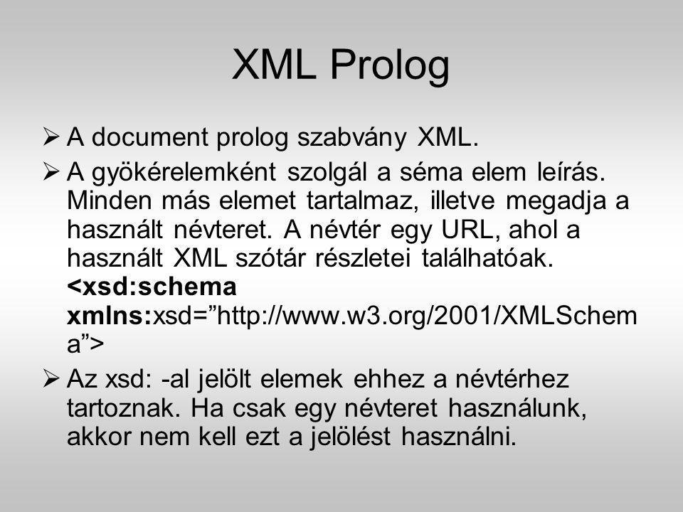 XML Prolog  A document prolog szabvány XML.  A gyökérelemként szolgál a séma elem leírás. Minden más elemet tartalmaz, illetve megadja a használt né
