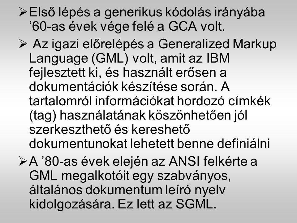  Első lépés a generikus kódolás irányába '60-as évek vége felé a GCA volt.  Az igazi előrelépés a Generalized Markup Language (GML) volt, amit az IB