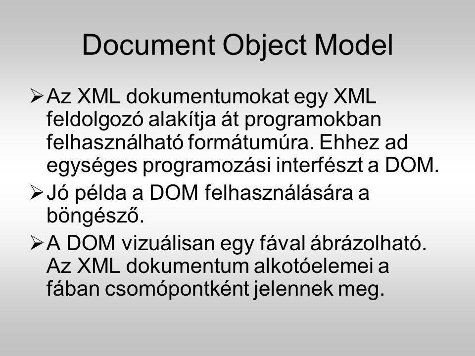 Document Object Model  Az XML dokumentumokat egy XML feldolgozó alakítja át programokban felhasználható formátumúra. Ehhez ad egységes programozási i