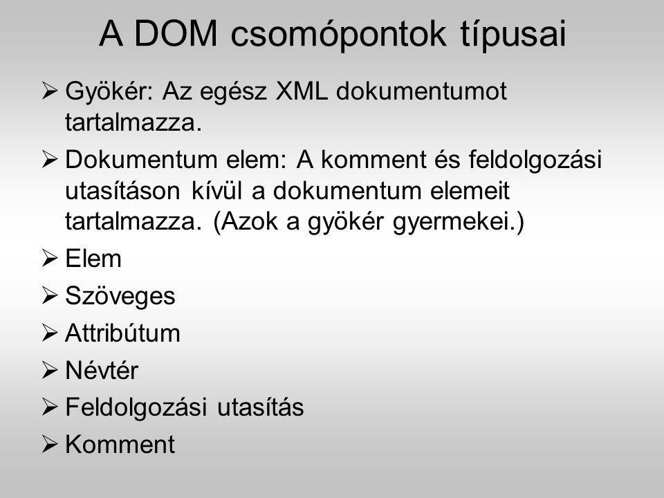 A DOM csomópontok típusai  Gyökér: Az egész XML dokumentumot tartalmazza.  Dokumentum elem: A komment és feldolgozási utasításon kívül a dokumentum