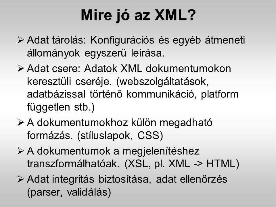 Mire jó az XML?  Adat tárolás: Konfigurációs és egyéb átmeneti állományok egyszerű leírása.  Adat csere: Adatok XML dokumentumokon keresztüli cseréj