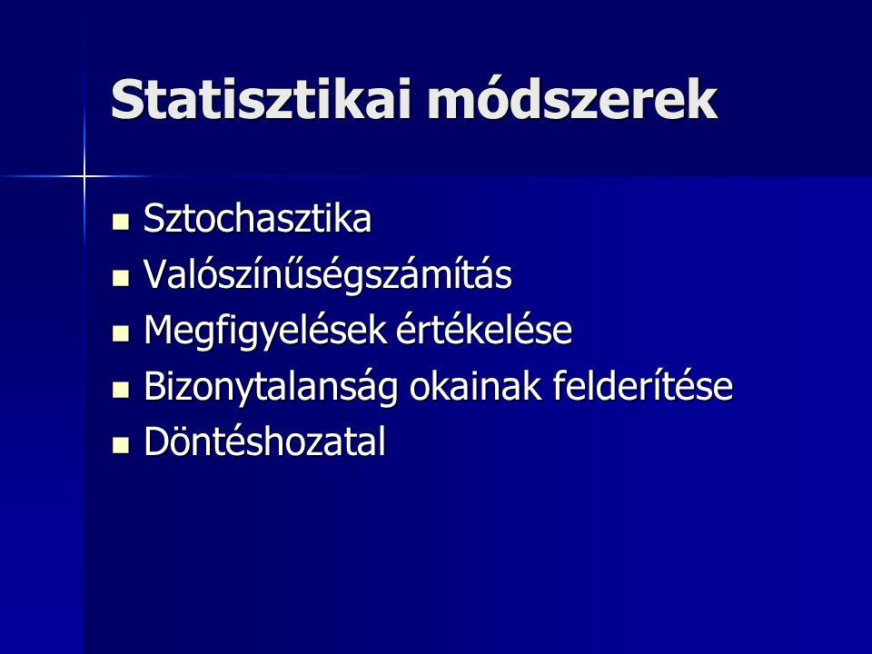 Statisztikai módszerek Sztochasztika Sztochasztika Valószínűségszámítás Valószínűségszámítás Megfigyelések értékelése Megfigyelések értékelése Bizonytalanság okainak felderítése Bizonytalanság okainak felderítése Döntéshozatal Döntéshozatal