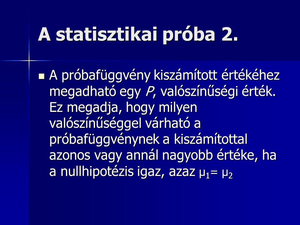 A statisztikai próba 2. A próbafüggvény kiszámított értékéhez megadható egy P, valószínűségi érték.