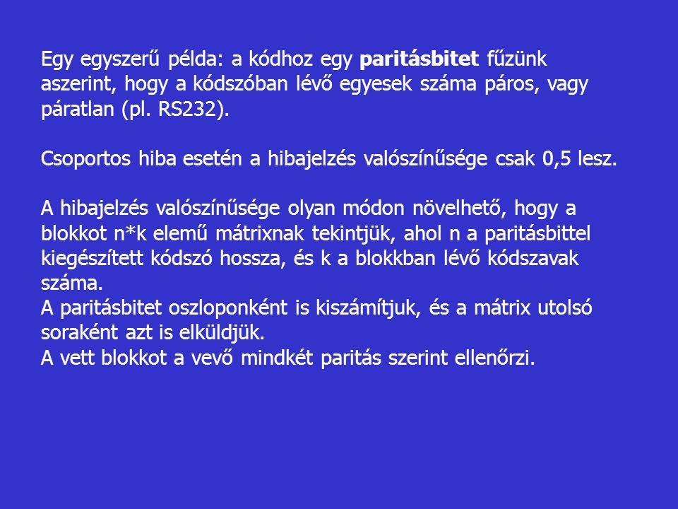 Egy egyszerű példa: a kódhoz egy paritásbitet fűzünk aszerint, hogy a kódszóban lévő egyesek száma páros, vagy páratlan (pl. RS232). Csoportos hiba es