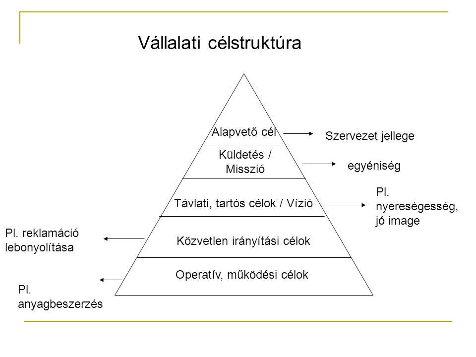 Vállalati célstruktúra Pl. nyereségesség, jó image Pl. reklamáció lebonyolítása Operatív, működési célok Közvetlen irányítási célok Távlati, tartós cé