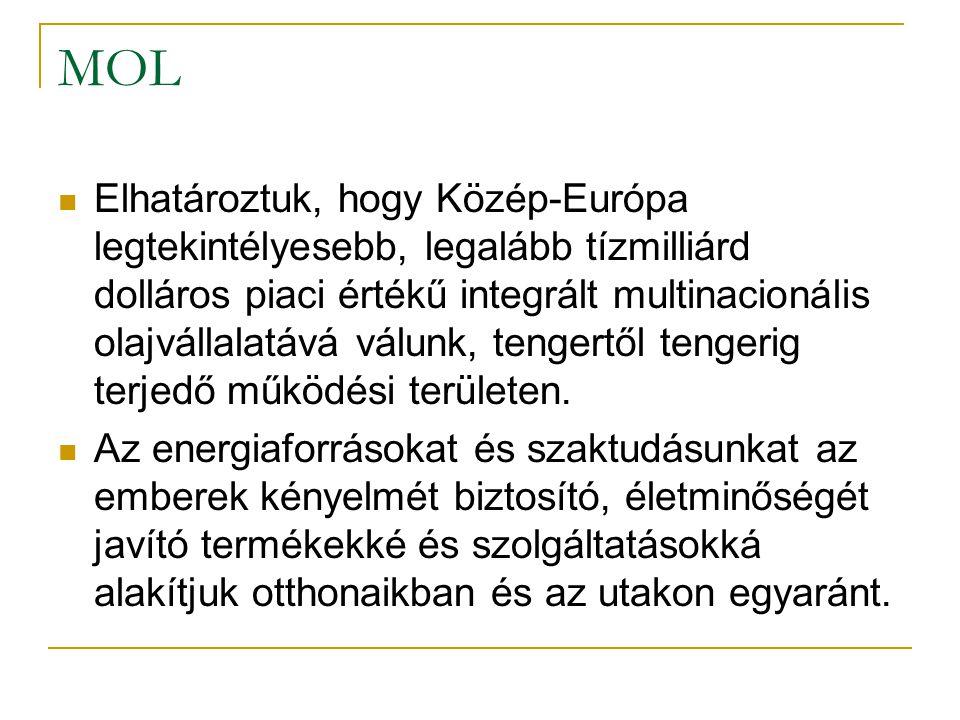 MOL Elhatároztuk, hogy Közép-Európa legtekintélyesebb, legalább tízmilliárd dolláros piaci értékű integrált multinacionális olajvállalatává válunk, te