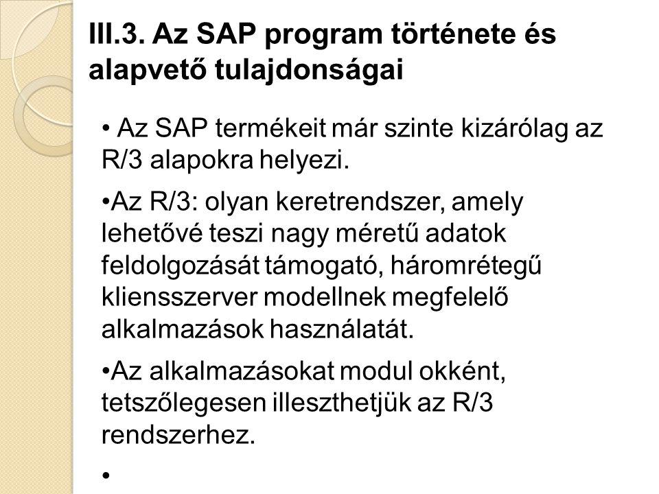 Az SAP termékeit már szinte kizárólag az R/3 alapokra helyezi.