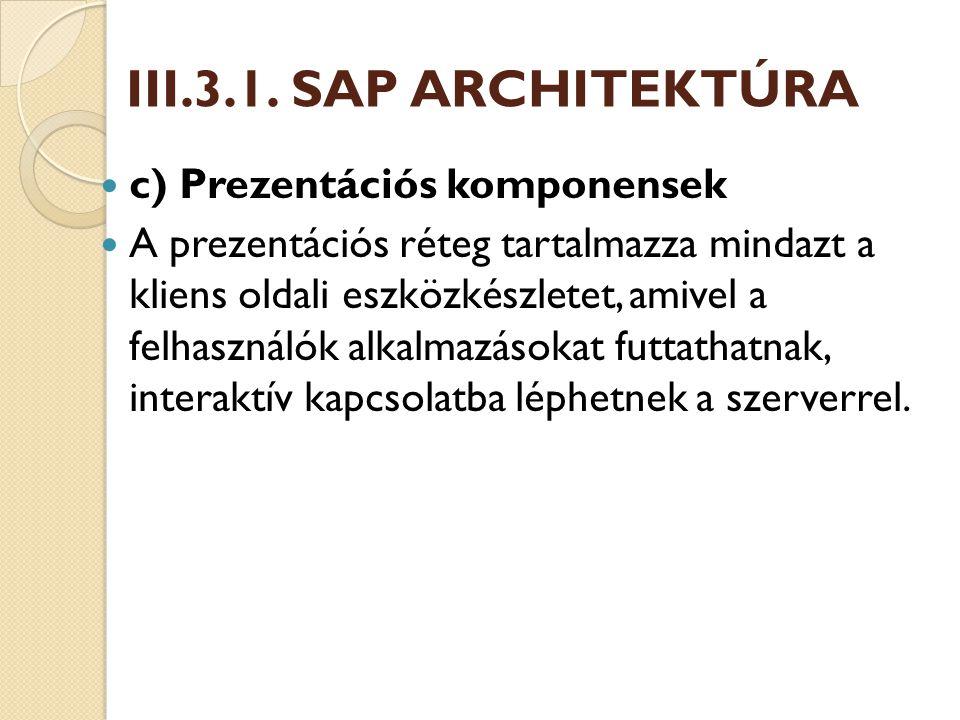 d) Adatbázis réteg Az adatbázis réteg tartalmazza az R/3 rendszer minden adatát.