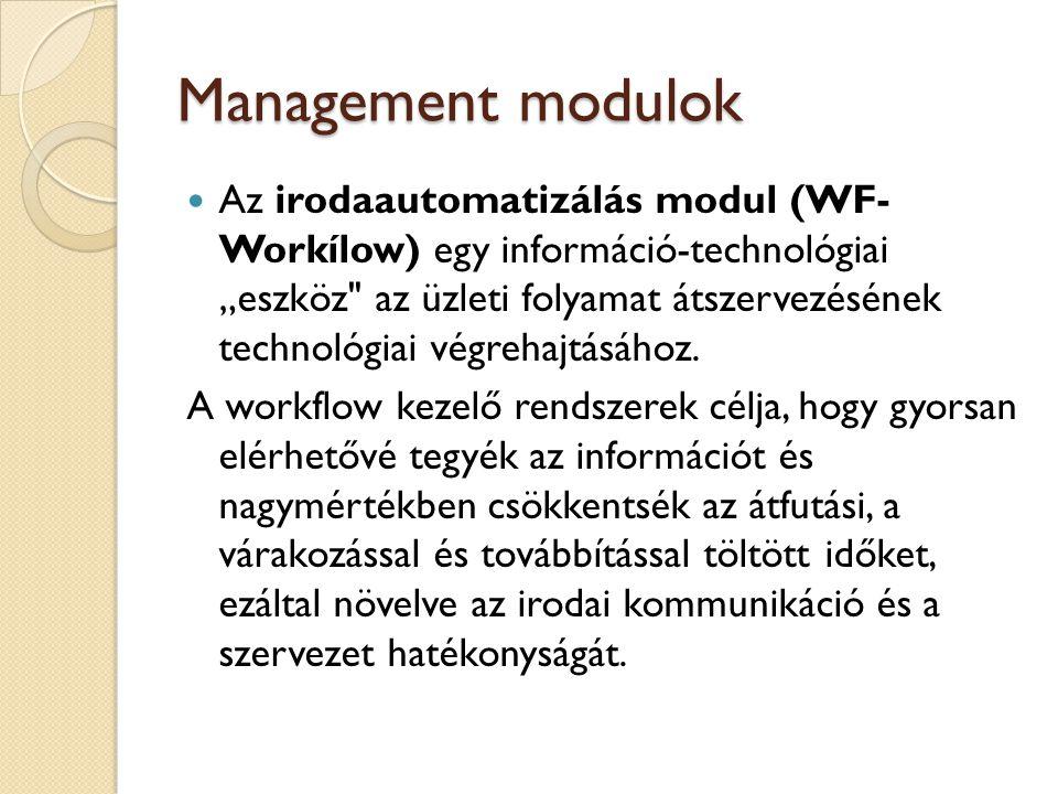 Management modulok A szakmai megoldások modul (IS-Industry Solutions) a különféle iparágazatok specifikus igényeinek kielégítését szolgálja, amelyet az SAP szakértői az adott iparág meghatározó vállalataival, és a tanácsadó partnerekkel együttműködve fejlesztenek.