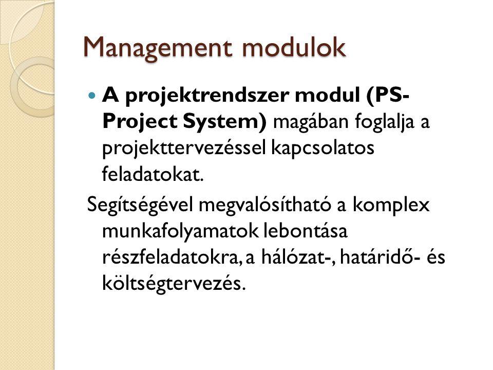 Üzleti modulok A profitképző modulok egymással igen szoros kapcsolatban vannak, folyamatos kommunikációban állnak a pénzügyi és számviteli, a projekt rendszer és az irodai ügyvitel modullal.