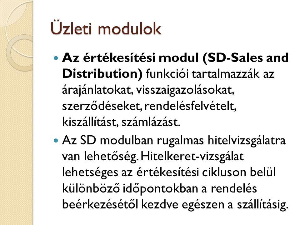 Üzleti modulok Az értékesítési bizonylatokkal a gyakorlatban szokásos összes értékesítési tevékenység feldolgozható.