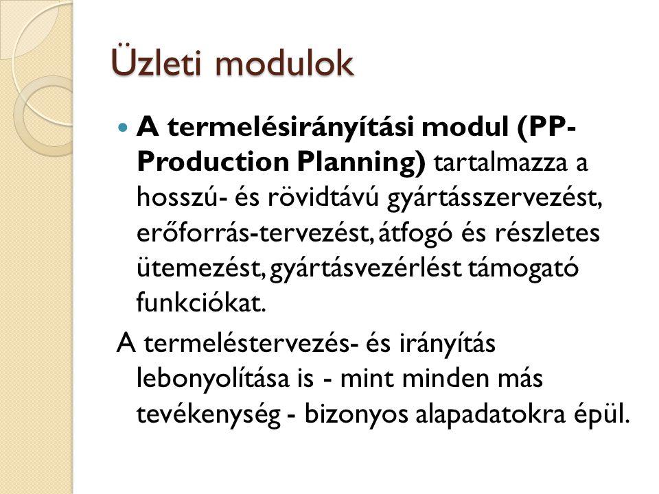 Üzleti modulok Ezek lehetnek: felhasználandó alapanyagok, dokumentumok, gyártási segédeszközök, darabjegyzékek (egy termék milyen komponensekből áll), művelettervek (azokat a gyártási lépéseket írja le, amelyek a késztermék alapanyagból történő előállításához szükségesek, valamint az ehhez tartozó időszükségletek), munkahelyek (a munkahelyek számára rendelkezésre álló kapacitást határozhatjuk meg itt; elkülönítve tehetjük meg a gépre, emberi erőforrásokra vonatkozóan; itt kezelhetők a műszakonként eltérő kapacitás adatok).