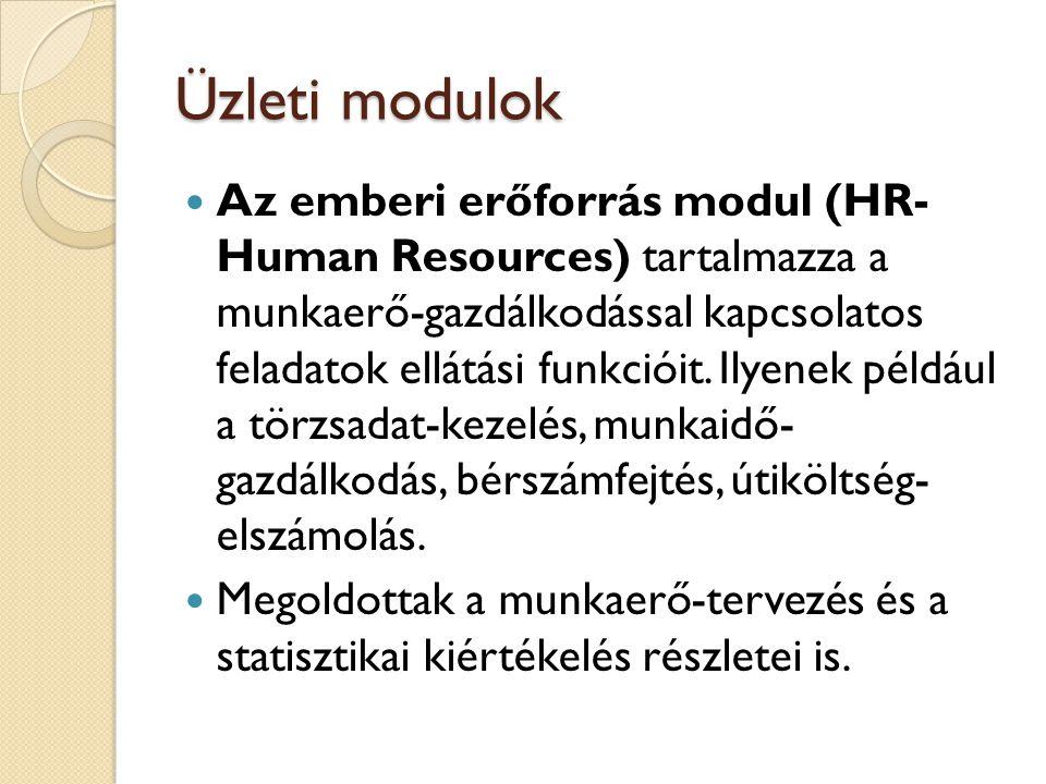 Üzleti modulok A HR-rendszer önállóan, és más SAP modulokkal együtt, integrált rendszer részeként is alkalmazható.