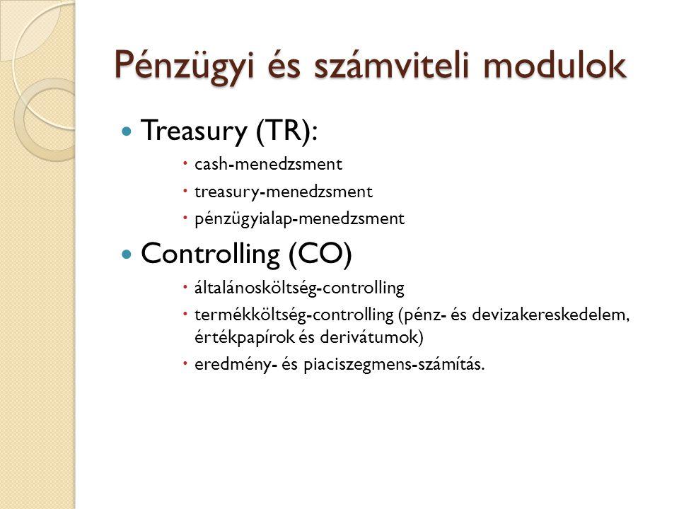 Pénzügyi és számviteli modulok A pénzügyi és számviteli modulok segítségével lehet elvégezni az üzleti tranzakciók pénzügyi, számviteli folyamatainak, az ellenőrzési és beszámoltatási kötelezettségeknek a lebonyolítását.