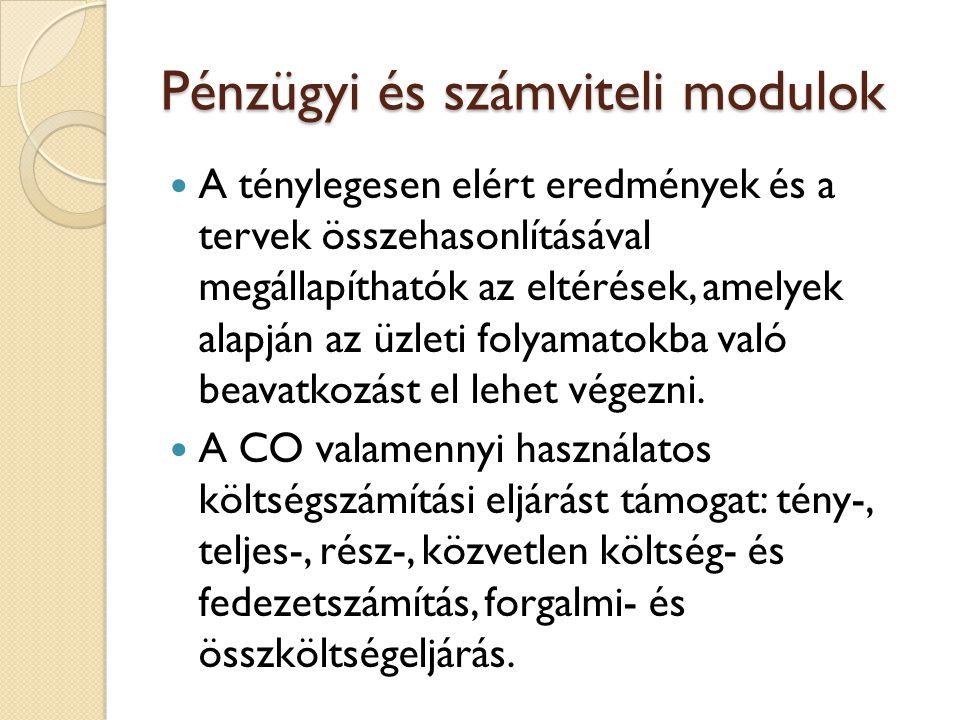 Pénzügyi és számviteli modulok A CO-modul több komponensből tevődik össze, amelyek különböző feladatok feldolgozására alkalmasak.