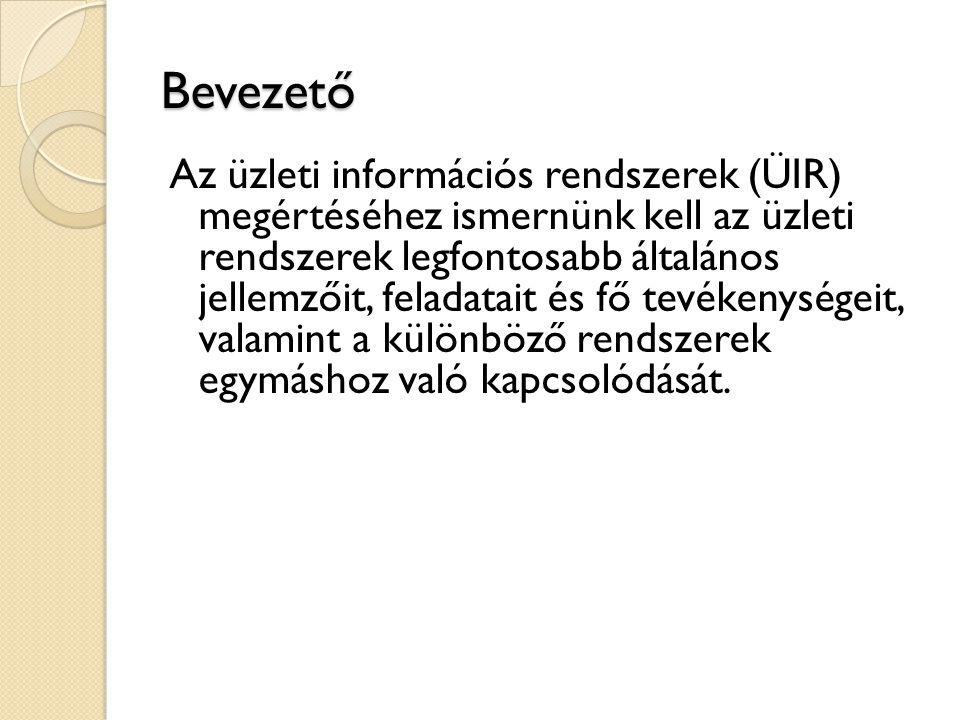 Tartalom II.1.Az információs rendszerek felépítése II.1.1.