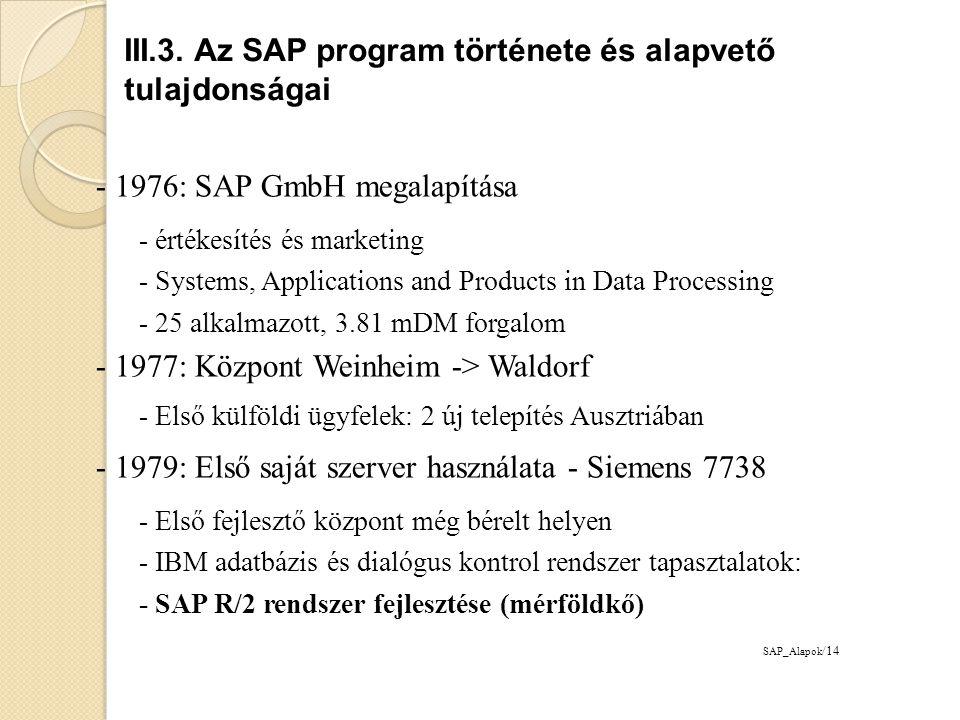 1980: Saját székház Waldorf ipari parkjában - Géppark: Siemens 7738, IBM/370-148, IBM 4341 - Új termék: RV rendelés feldolgozó szoftver 1982: székház bővítés - 250 ügyfél, Németország, Ausztria és Svájc - 100 alkalmazott, 24 mDM forgalom 1986: Első külföldi leányvállalat Ausztriában - Tőkeemelés: 500.000DM -> 5mDM - Kisebb szervezeti egységek létrehozása - Eszközgazdálkodási szoftver: 100 új megrendelés - Új emberi erőforrás szoftver elkészül (3 év fejlesztés) - Első CeBIT részvétel, 100mDM forgalom SAP_Alapok /15 III.3.