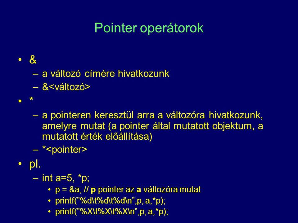 Pointer operátorok & –a változó címére hivatkozunk –& * –a pointeren keresztül arra a változóra hivatkozunk, amelyre mutat (a pointer által mutatott o